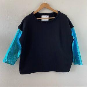 Gaelle Bonheur Black Metallic Pullover Sweatshirt
